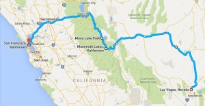 USA Rundreise - Las Vegas und Yosemite Nationalpark - Map