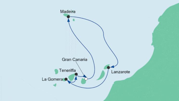 Aida Kreuzfahrt Kanaren und Madeira - Map