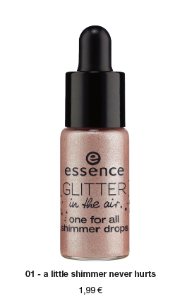 "essence trend edition ""glitter in the air"" – one for all shimmer drops"