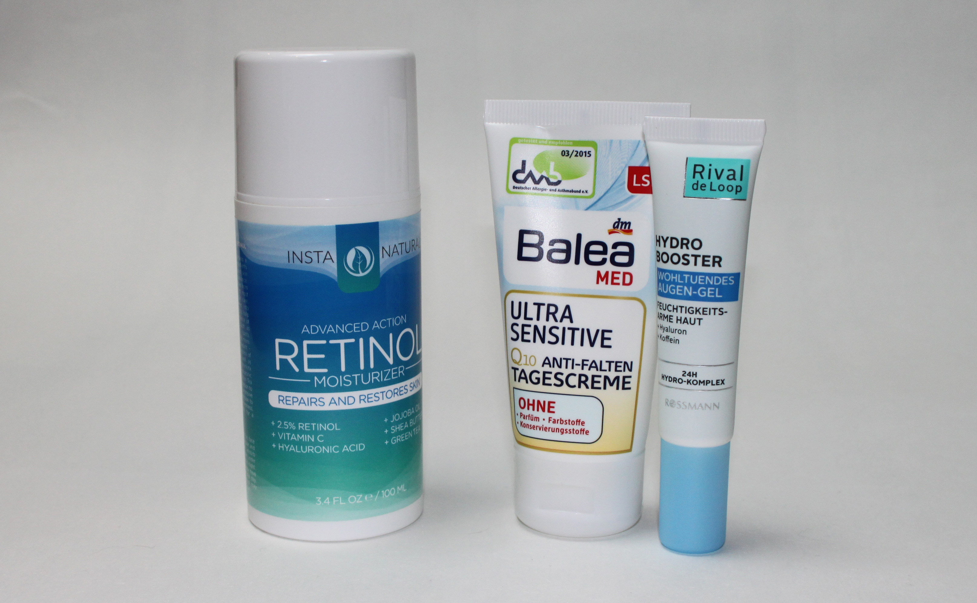 Pflegeroutine am Morgen - Insta Natural Retinol Moisturizer, Balea Ultra Sensistive Creme, RdL Hydro Booster