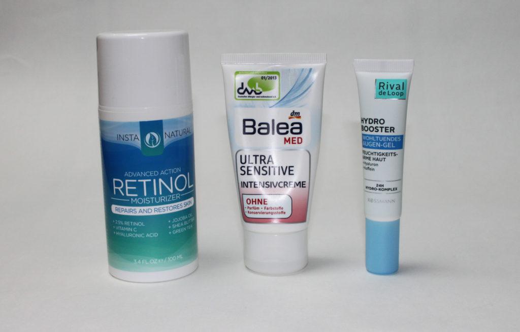 Pflegeroutine am Abend - Insta Natural Retinol Moisturizer, Balea Ultra Sensistive Creme, RdL Hydro Booster