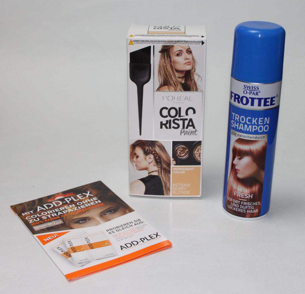 Aufgebraucht 2017 #1 – Haare - Swiss-o-Par - Frottee Trocken Shampoo, L'OréalColorista - Hairpaint Strawberryblonde, ADD-PLEX
