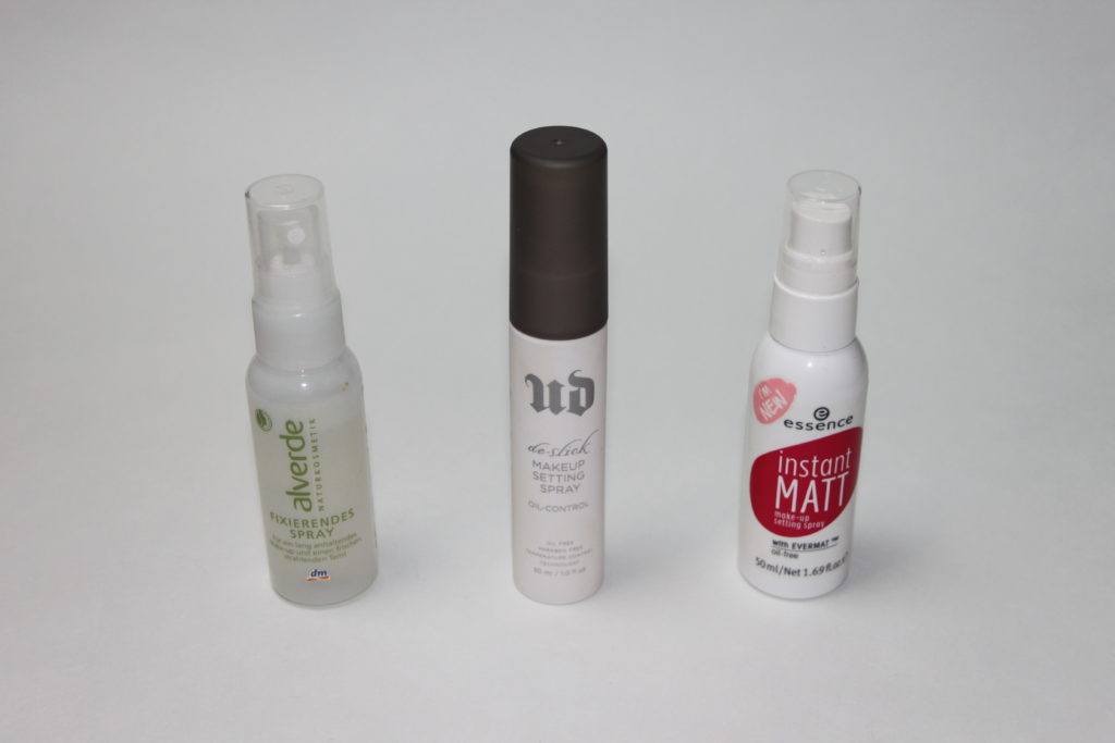 MakeUp Setting Sprays im Vergleich - alverde, Urban Decay, essence