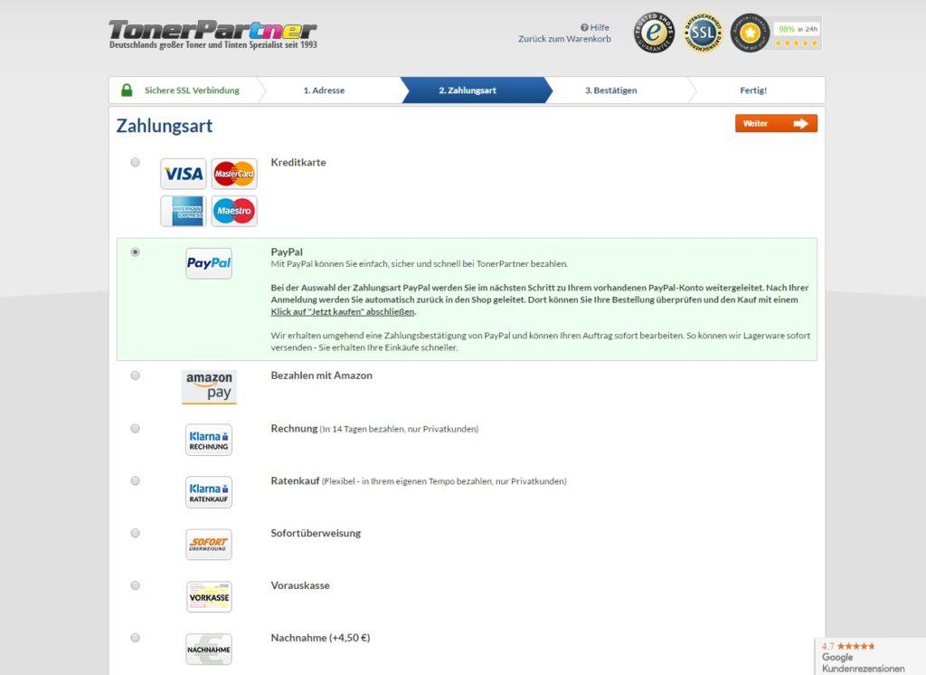 Druckerpatronen von tonerpartner.de - Die Bestellung